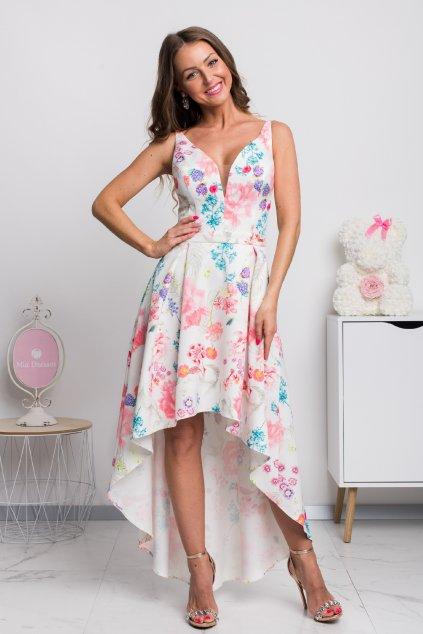 Kvetinové asymetrické šaty