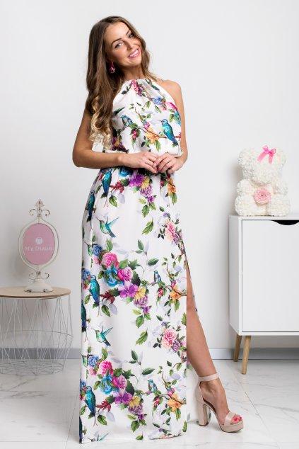 Smotanové kvetinové šaty s rozparkom