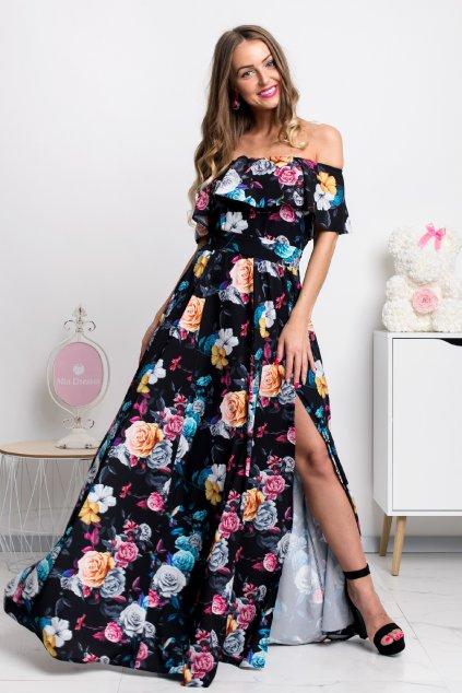 Čierne kvetinové šaty spustené na ramená