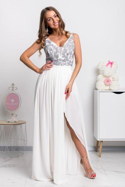 Biele spoločenské šaty so sivou krajkou