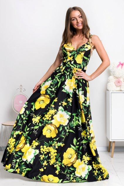 Čierne kvetinové šaty s odhaleným chrbtom