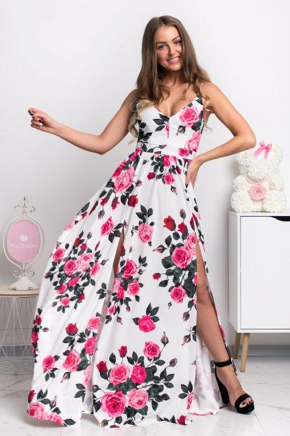Kvetinové šaty s rozparkami ROSE