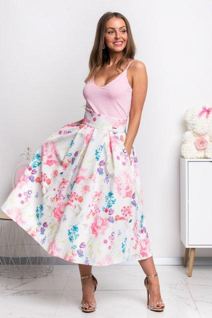 Kvetinová áčková midi sukňa