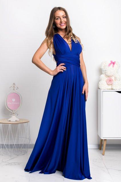 Modré spoločenské šaty s viazaním