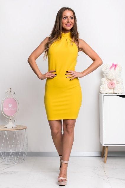 Žlté priliehavé mini šaty