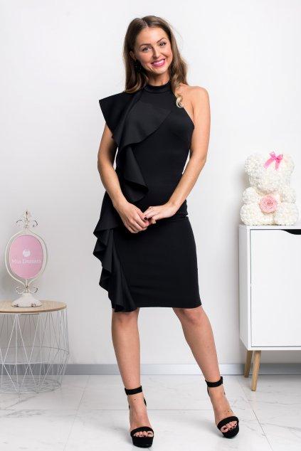 Čierne priliehavé šaty s volánmi