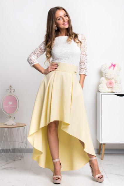 Žltá asymetrická sukňa