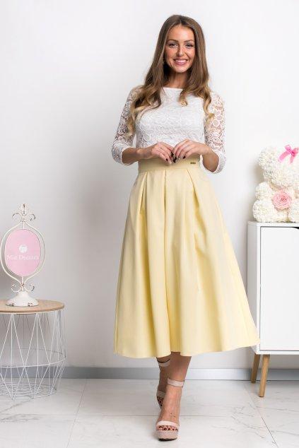 Žltá áčková midi sukňa