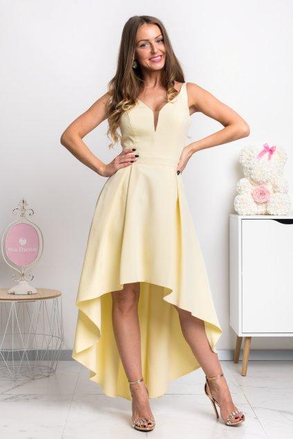 Žlté asymetrické šaty