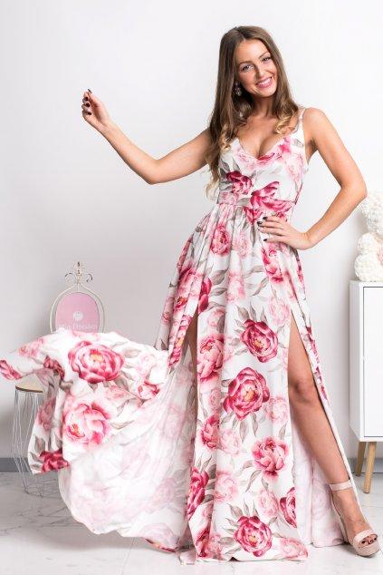 Bielo-ružové kvetinové šaty s rozparkami