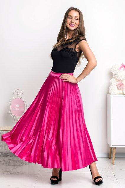 Cyklaménová skladaná midi sukňa