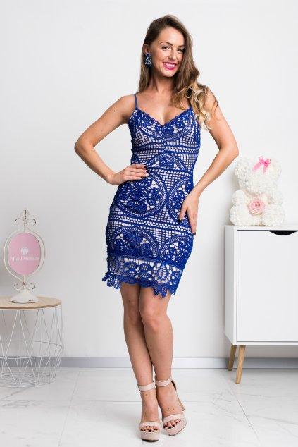 Modré krajkové mini šaty