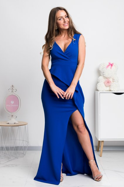 Modré priliehavé šaty s rozparkom
