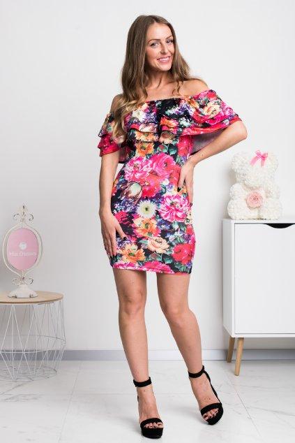 Čierne kvetinové mini šaty s volánikmi