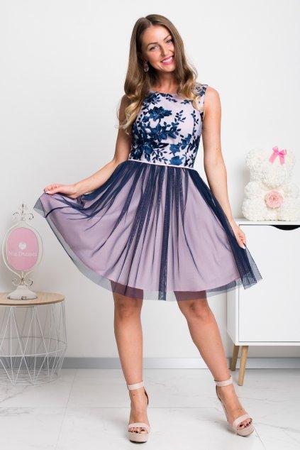 Modro-ružové krátke šaty s tylovou sukňou