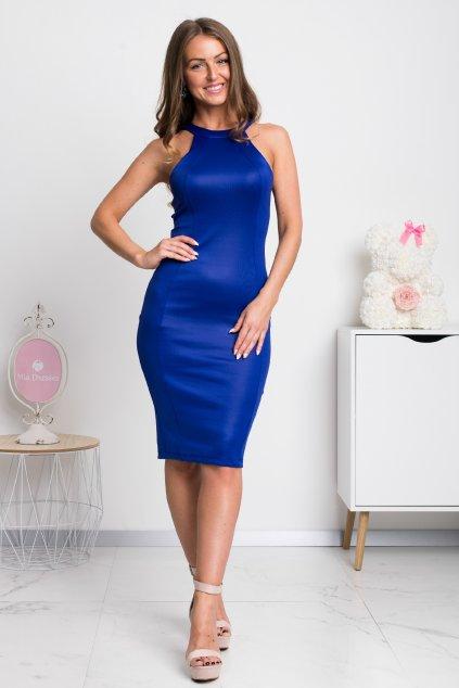Modré midi šaty s pásmi na chrbte