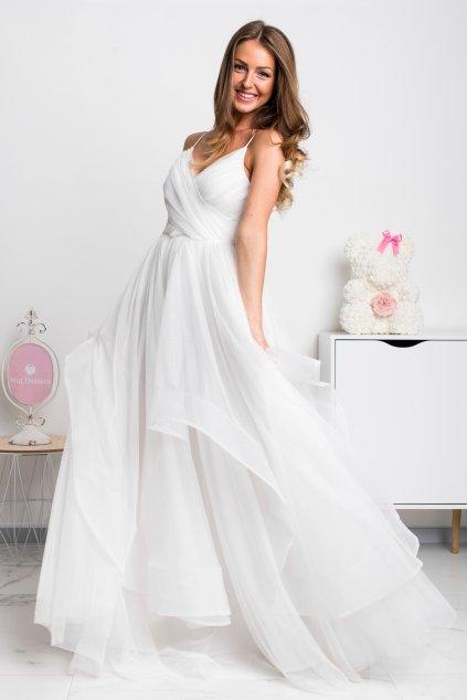 Smotanové spoločenské šaty s tylovou sukňou