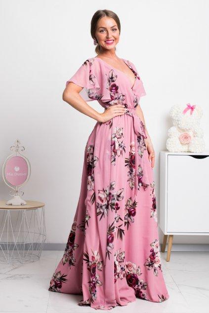 Ružové dlhé šifónové šaty s kvetinami