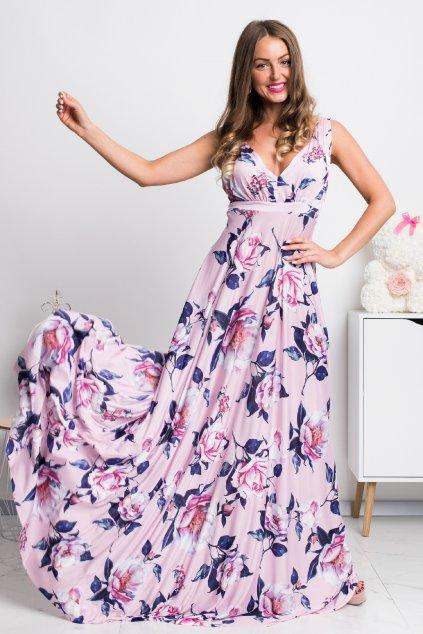 Ružové dlhé šaty s kvetinami