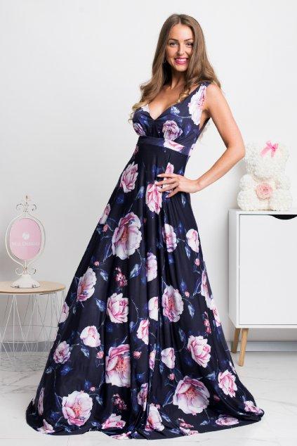 Tmavomodré dlhé šaty s kvetinami