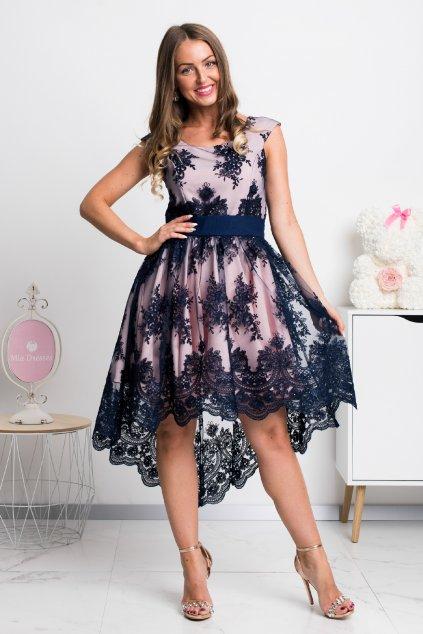 Modro-ružové asymetrické šaty s krajkou