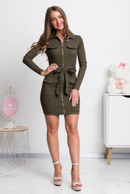 Olivové denimové mini šaty