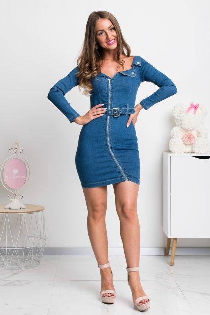 Denimové modré mini šaty