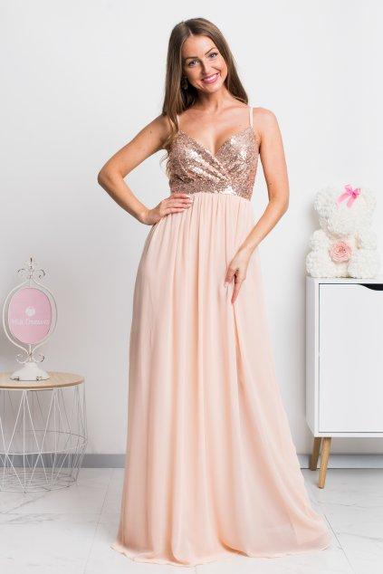 Púdrové šifónové šaty s flitrami