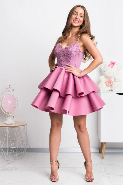 Ružové spoločenské mini šaty na ramienka