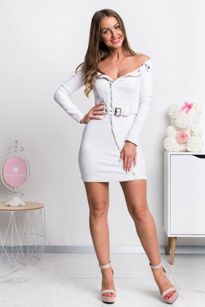 Denimové biele mini šaty