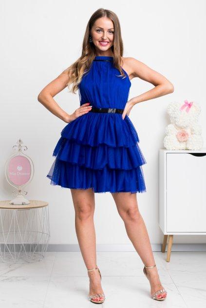 Modré tylové mini šaty