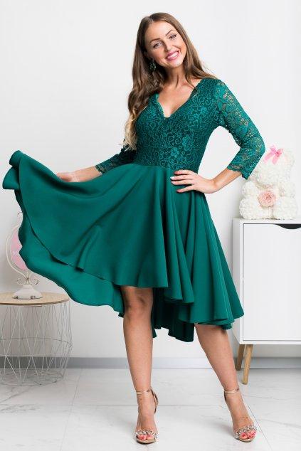 Zelené asymetrické šaty s čipkou