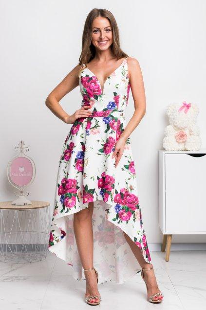 Kvetinové asymetrické šaty s ružami