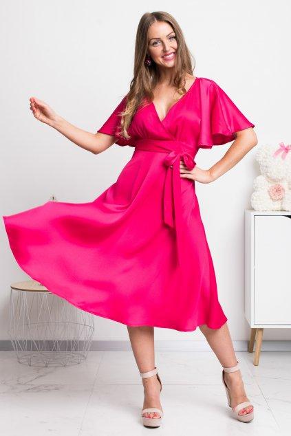 Cyklaménové spoločenské midi šaty