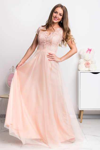 Marhuľové spoločenské šaty s tylovou sukňou a krajkou