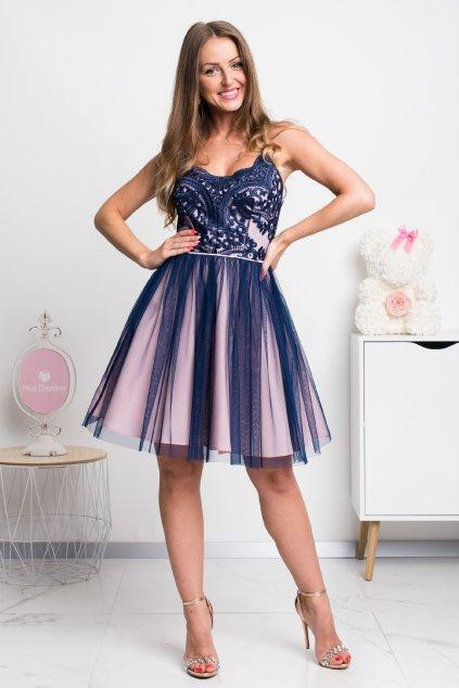 Modro-ružové spoločenské krátke šaty na ramienka