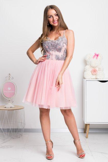 Ružovo-sivé spoločenské krátke šaty na ramienka