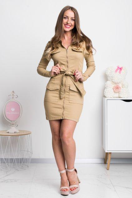 Béžové denimové mini šaty