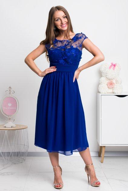 Modré šifónové midi šaty