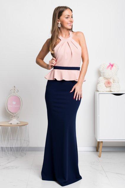 Modro-púdrové spoločenské šaty s peplum volánikom