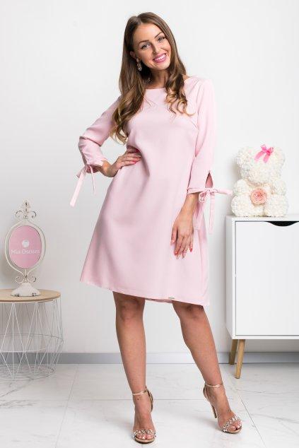 Svetloružové krátke áčkové šaty