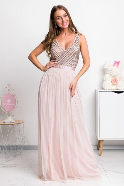 Staroružové spoločenské šaty s tylovou sukňou