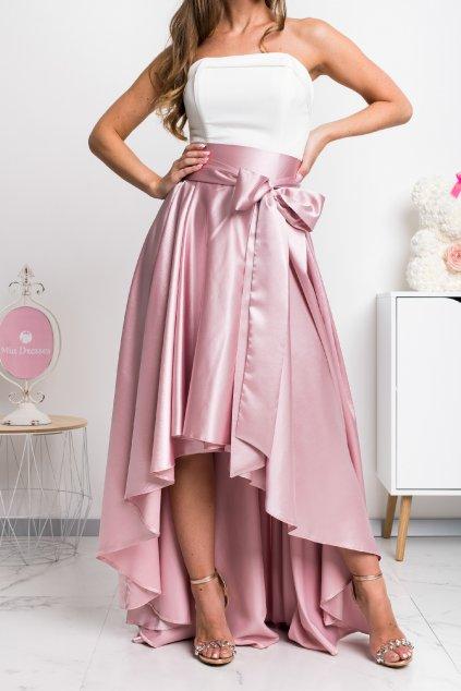 Staroružová saténová asymetrická sukňa