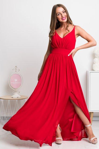 Červené spoločenské šaty na ramienka
