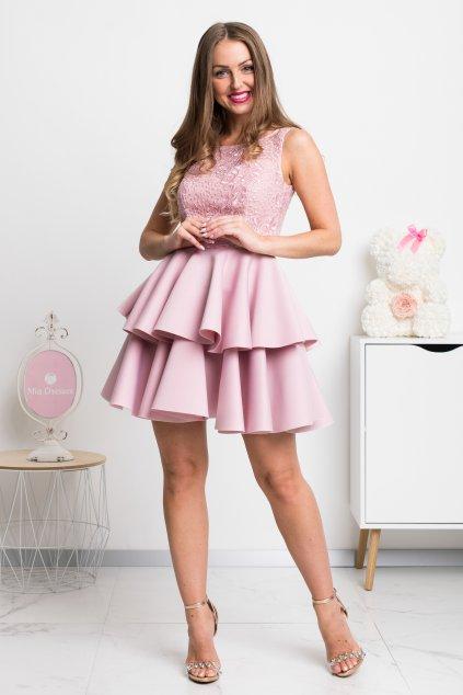 Staroružové spoločenské mini šaty s krajkou