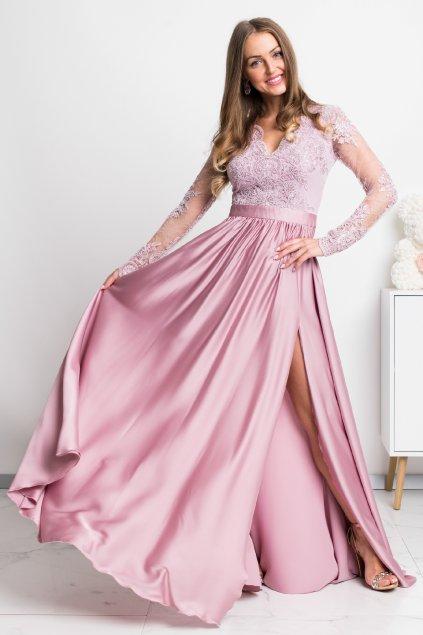 Ružové spoločenské šaty s krajkou a saténovou sukňou