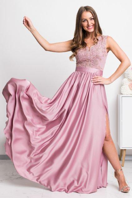 Staroružové spoločenské šaty so saténovou sukňou a rozparkom