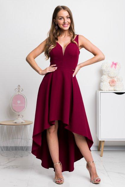 Bordové asymetrické šaty