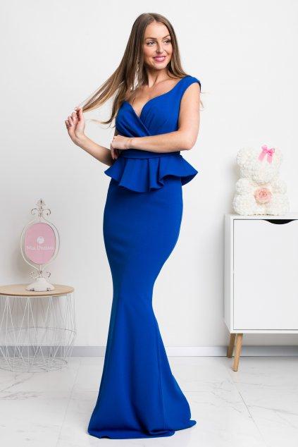 Modré spoločenské šaty s peplum volánikom