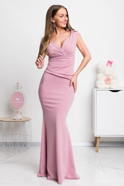 Ružové spoločenské priliehavé šaty